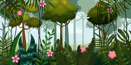 Jungle forest and flowers. Trees, leaves flowers parallax