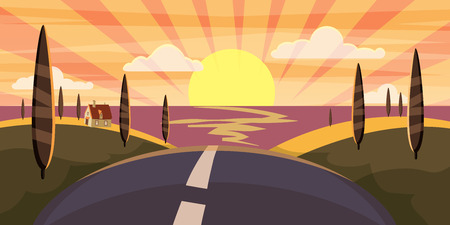 Cartoon landscape with road, higway and sunset summer, sea, sun, trees