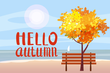 Autumn landscape on the sea, ocean, Hello Autumn lettering, tree, wooden bench, sailboat panorama, autumnal mood, yellow, red, orange leaves, cartoon style, vector, illustration, isolated