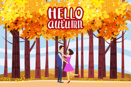Hello autumn, Autumn alley, couple guy and girl characters met the path in the park, fall, autumn leaves, mood, lettering