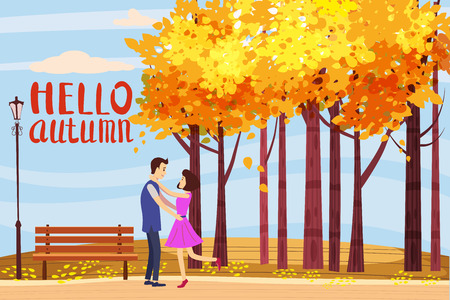 Hello autumn, Autumn alley, couple guy and girl characters walking along the path in the park, fall, autumn leaves, mood, lettering