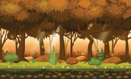 Cartoon illustration of background forest. Bright forest woods, silhouttes, trees with bushes, ferns and flowers