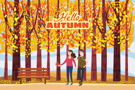 Autumn alley, couple guy and girl characters walking along the path in the park, fall, autumn leaves Иллюстрация