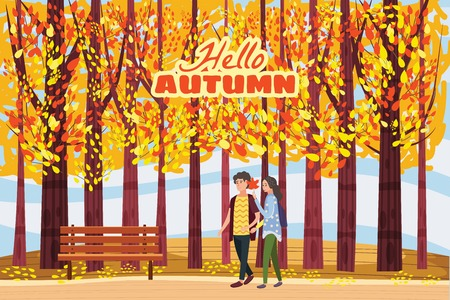 Autumn alley, couple guy and girl characters walking along the path in the park, fall, autumn leaves, mood Иллюстрация