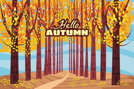 Hello autumn, Autumn alley, path in the park, fall, autumn leaves mood Stock fotó - 112286598