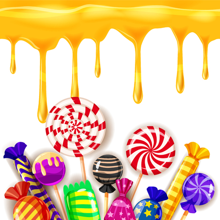 Candy Sweet Shop colourfull template set of different colors of candy, candy, sweets, candy, jelly beans with caramel drips. Background, poster, banner, vector, isolated, cartoon style Illustration