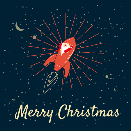 Santa Claus on a rocket flies in space around the Earth, Merry Christmas and Happy New Year, retro