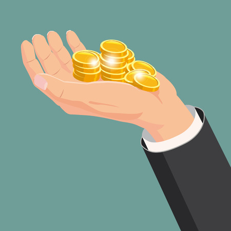 The hand that holds the gold coins, gift. Cartoon style  イラスト・ベクター素材