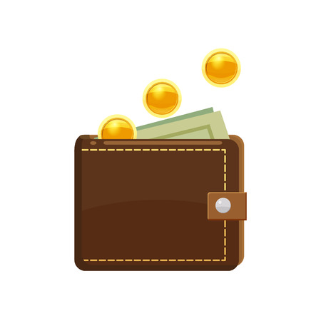 Goldene Münzen und Geldbörse mit Dollar-Banknoten im Geldbeutel. Geld sparen Konzept.