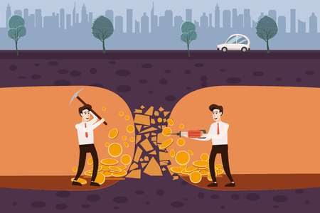 Businessmen are holding a pickaxe and a jackhammer in the underground under the ground, making coins, money. Concept, vector, illustration, banner, poster, isolated, cartoon style Vettoriali