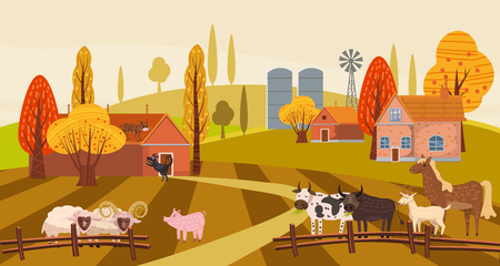 Farm animals and birds set in trendy cute style, including horse, cow, donkey, sheep, goat, pig, rabbit, duck, goose, turkey roosterram dog cat bull and chicken Ilustração