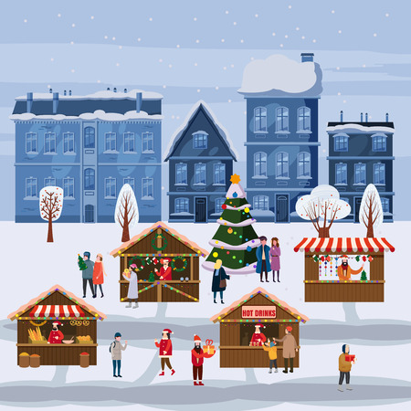 Christmas market or holiday outdoor fair on town square. Christmas tree. People walking between decorated stalls, canopy or kiosks, buying snacks,gifts, decoration and drinking hot coffe, tea and mulled wine
