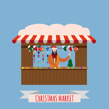 Christmas market stalls, canopy with New Year decorations. Xmas wreath, balls, ate, decoration Stock Illustratie