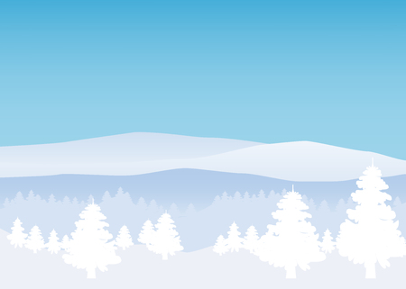 Winter landscape, minimal style. Horizon, panorama, snow-covered trees Ate pine
