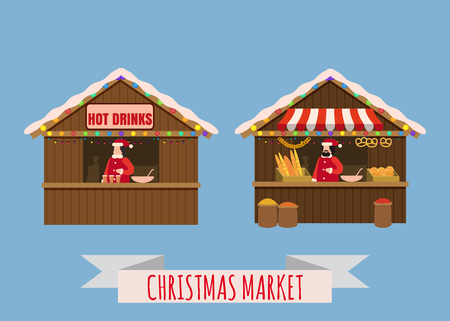 Christmas market stalls, canopy seller with with New Year bakery, gifts and hot drinks. Xmas mulled vine, coffe, tea, bakery, bread shops with bagel, ciabatta, baguette
