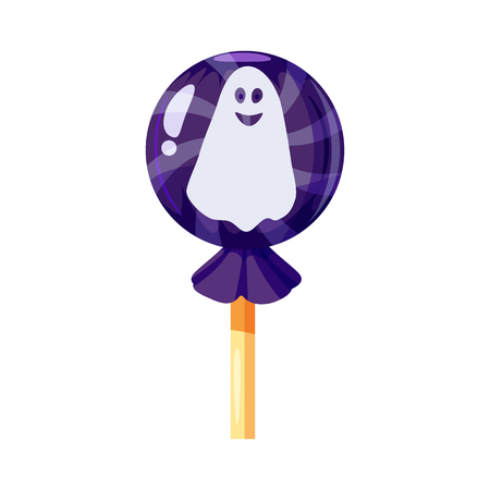 Colored sweets Ghost character, phantom, spirit, lollipop, hard candy, caramel Halloween feast. Blue color with elements of the holiday Halloween. Vector, isolated, cartoon style Stock Photo