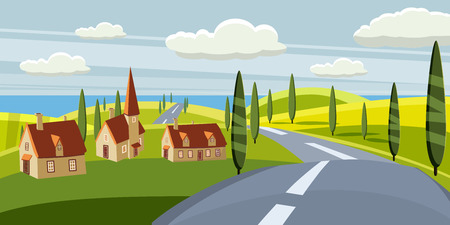 Cartoon landscape with road, higway, countryside and summer, sea, sun, trees willage houses