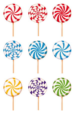 Set striped peppermint candies, caramel, vector Cartoon style