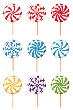 Set striped peppermint candies, caramel, vector Cartoon style Illustration