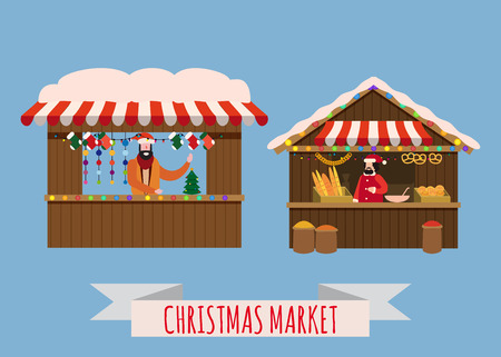 Christmas market stalls, canopy seller with with New Year decorations, gifts. Xmas bakery, bread shops with bagel, ciabatta, baguette and wreath, balls, ate, decoration