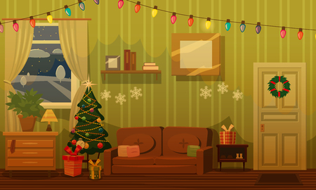 Christmas room with a Christmas tree, sofa, gifts, festoon, holiday attributes, mood. Vector, illustration, isolated, template, poster, banner