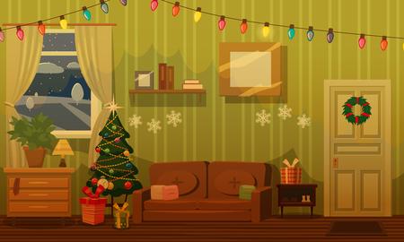 Sala de Navidad con árbol de Navidad, sofá, regalos, festón, atributos festivos, estado de ánimo. Vector, ilustración, aislado, plantilla, cartel, banner Ilustración de vector