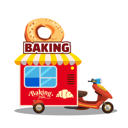 Bakery street food caravan trailer with fresh bread, loaf, baguette, pretzel, croissant. Colorful vector illustration, cute style, isolated on white background