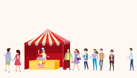 Trade tent, ice cream counter, seller under a canopy, selling ice cream, drinks, corn, fast food, sweets. People, sellers and buyers Stock Illustratie
