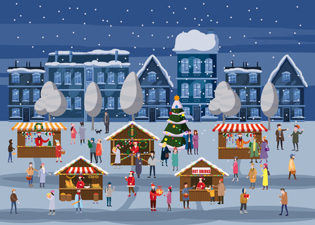Christmas market or holiday outdoor fair on town square. Christmas tree. People walking between decorated stalls, canopy or kiosks, buying snacks,gifts, decoration and drinking hot coffe, tea and mulled wine. Colorful vector illustration in trend cartoon flat style. Isolated