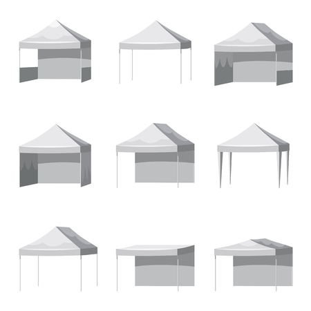 Set Canopy shed overhang awning mockup set. Cartoon style illustration of 9 canopy shed overhang awning mockups Çizim