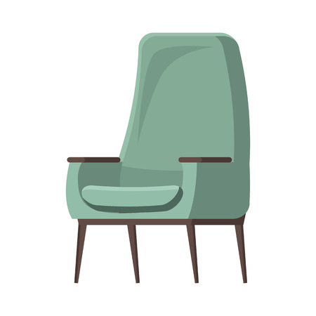 Chair cute furniture armchair and seat pouf design in furnished apartment interior illustration Illustration