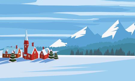 Paesaggio invernale, stile minimal dei cartoni animati. Orizzonte, panorama, alberi innevati, montagne del villaggio mangiavano pini Vettoriali