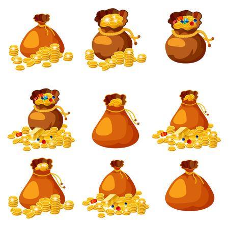 Ensemble de vieux sacs, sacs à main, vides et pleins d'or, pièces de monnaie, brillants, trésors, pour les jeux, vecteur d'applications isolé Vecteurs
