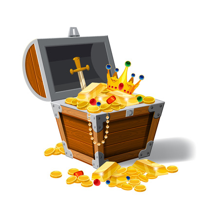 Old pirate chest full of treasures, gold coins, ingots, jewelry, crown, dagger, vector, cartoon style illustration isolated