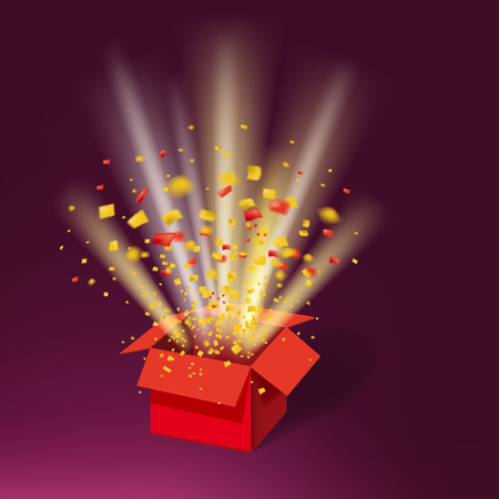 Open Red Gift Box and Colour Confetti. Bright Rays. Vector Illustration. Isolated, Template Baner, Poster Zdjęcie Seryjne