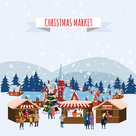 Christmas Fair, Market on town Anthropomorphic Set of animals in human winter clothes coats, jackets, shoes, slippers, Bear, cat, deer, horse, rabbit, hare, fox, elk, winter, snow. Vector, flat style, illustration, isolated, template, poster, banner