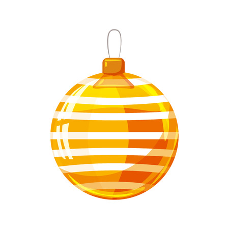 Christmas ball yellow, gold, white colour decorated on white background