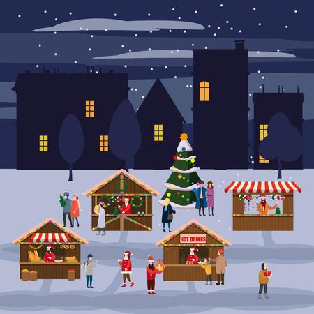 Weihnachtsmarkt oder Feiertagsmesse im Freien auf dem Stadtplatz. Weihnachtsbaum. Menschen, die zwischen dekorierten Ständen, Baldachin oder Kiosken spazieren gehen, Snacks, Geschenke, Dekoration kaufen und heißen Kaffee, Tee und Glühwein trinken drinking Vektorgrafik