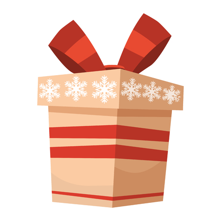 Colorful gift box with bows and ribbons. Presents isolated on white. Sale, shopping concept. Collection for Birthday, Christmas. Vector illustration.