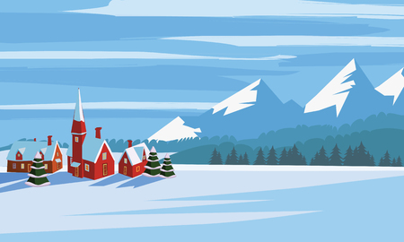 Winter landscape, cartoon minimal style. Horizon, panorama, snow-covered trees, village, mountains, ate, pine. Vector, illustration, isolated, template, poster, banner Stockfoto
