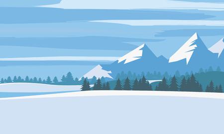Winter landscape, cartoon minimal style. Horizon, panorama, snow-covered trees, village mountains ate pine
