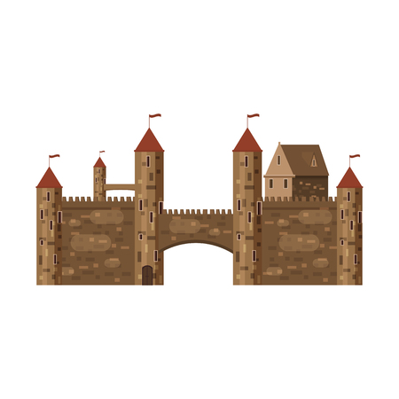 Castle, fortress, ancient, architecture middle ages Europe, Medieval palace with high towers and conical roofs, vector, banners, isolated, illustration, cartoon style Stock Illustratie