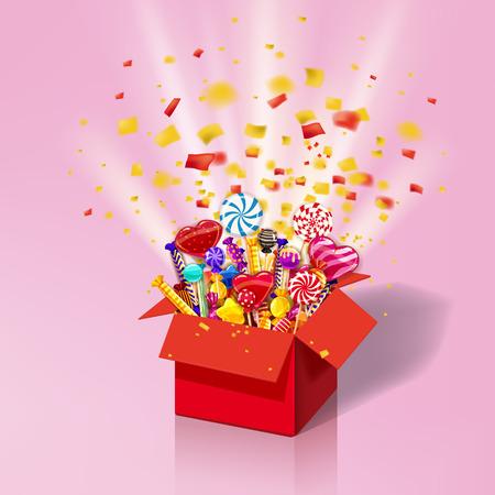 Weihnachtssüße Geschenkbox. Explosion von Papierkonfetti. Öffnen Sie 3D-rote Schachtel mit lecker, Süßigkeiten, Gelee, Süßigkeiten
