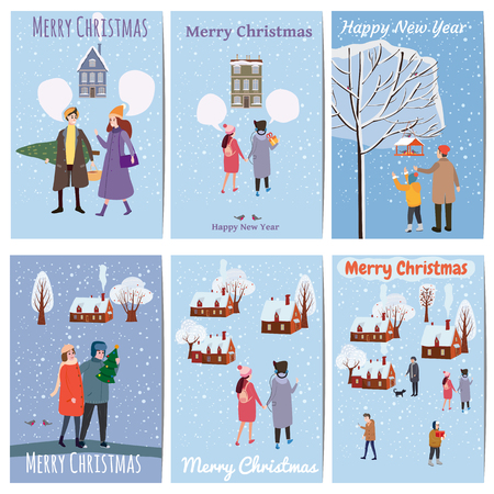 Merry Christmas and Happy New Year, card template with people characters, men and women in winter clothes Illusztráció