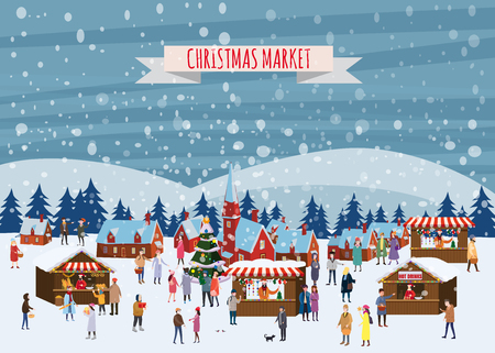 Christmas market or holiday outdoor fair on town square. People walking between decorated stalls, canopy or kiosks, buying snacks,gifts, decoration and drinking hot coffe, tea and mulled wine. Colorful vector illustration in trend cartoon flat style. Isolated