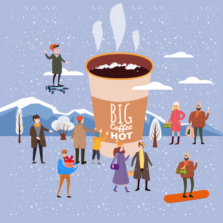 A big cup of coffee, people of men and women in winter