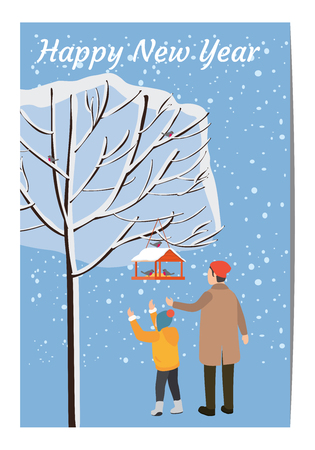 Merry Christmas and New Year, a car template with the characters of a man and a child in winter clothes