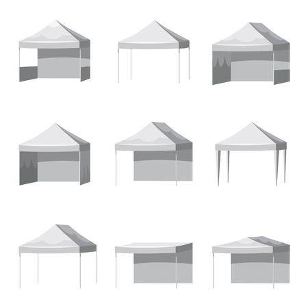 Set Set mockup di tende da sole a sbalzo per tettoia. Illustrazione in stile cartone animato di 9 modelli di tende da sole a sbalzo
