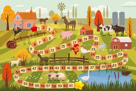 Ilustración de un juego de mesa con escena de granja. Ilustración de vector