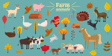 Big set of farm animals, pig, rabbit, cow, bull, cat, dog goose duck turkey donkey goat sheep ram Ilustração